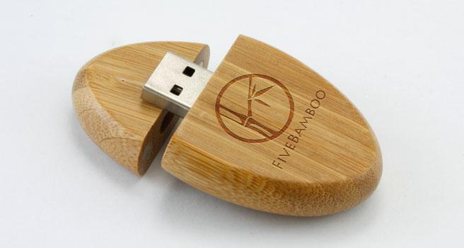 quà tặng usb gỗ oval usw09